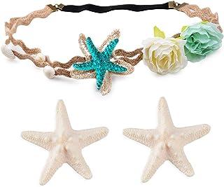 FLOFIA Kit Diedema de Estrella de Mar Concha Flor + 2pcs Pinzas Clips Pelo Estrella Mar Accesorios de Pelo Cabello Cabeza Banda para Mujer Chica Niña Sirena Disfraz Boda Fiesta Vacaciones Playa Fotos