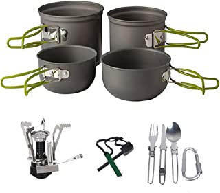 Camping Cookware Kit ,3-in-1 Camping Tableware ,Carabiner, Flint Fire Starter ,Windproof Burner Head Backpacking Gear & Hiking Outdoors Cooking Equipment Cooking Set | Lightweight & Durable Pot Pan