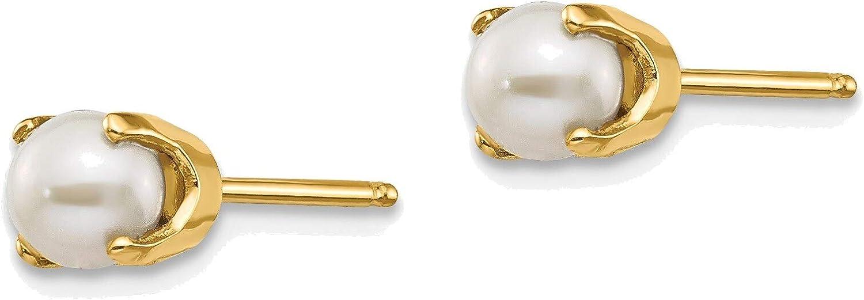 4mm June/Freshwater Cultured Pearl Post Earrings in 14K Yellow Gold