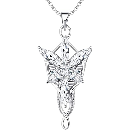 JO WISDOM Collana Arwen Evenstar Argento 925 Donna, Ciondolo Elvish con zirconi cubici 5A