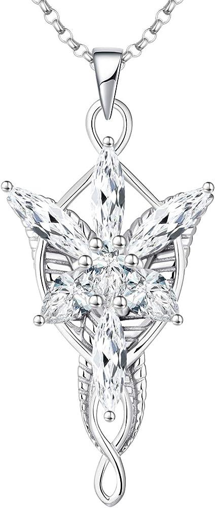 Jo wisdom collana per donna arwen evenstar argento 925  e ciondolo elvish con zirconi cubici 5a HP68105A1