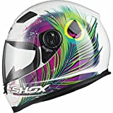 Shox Sniper Peacock Damen Motorrad Roller Rennsport Integralhelm S Weiß/Rosa/Neon Gelb