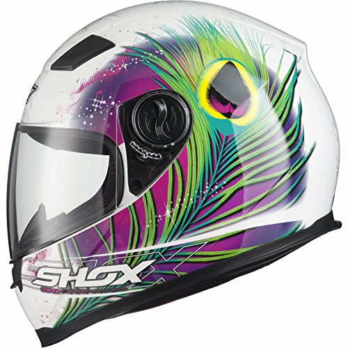 Shox Sniper Peacock Damen Motorrad Roller Rennsport Integralhelm XS Weiß/Rosa/Neon Gelb