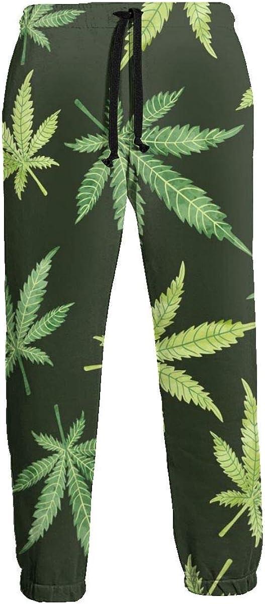 Trousers for Men Winter Watercolor Marijuana Leaves On Dark Swea
