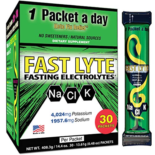 FAST LYTE Fasting Electrolytes for Fasting, Keto, and Intermittent Fasting Diets K4000 mg Potassium 2K Sodium per Packet - Fast and Keto Diet Friendly - 30 Packets - 12x More Electrolytes Supplement