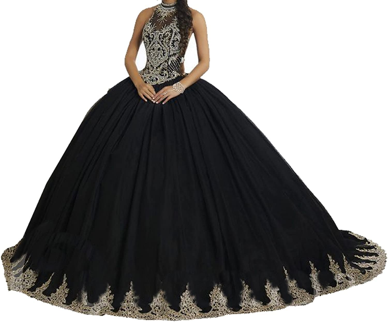 PuTao Women's High Illusion Neckline Appliques Beaded Quinceanera Dresses Dresses