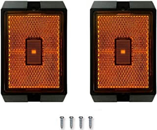 NOVALITE 2 pcs 2 inch Square LED Amber Side Marker Light LED Clearance Trailer Light with cooper Wires, IP67 Waterproof for the Replacement of LED Trailer light kits 12V DOT SAE Certified, Universal