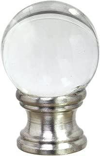 Aspen Creative 24014 Clear Glass Ball Lamp Finial in Nickel Finish, 1 1/2