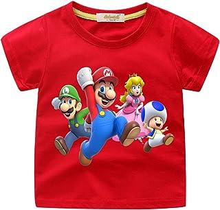 Casuale Super Mario Maglietta per Bambini,Super Mario Bros Manica Corta Estate Tee T-Shirt Elegante Camicia Tops Camicetta Blusa Maglietta da Ragazzi E Ragazzo