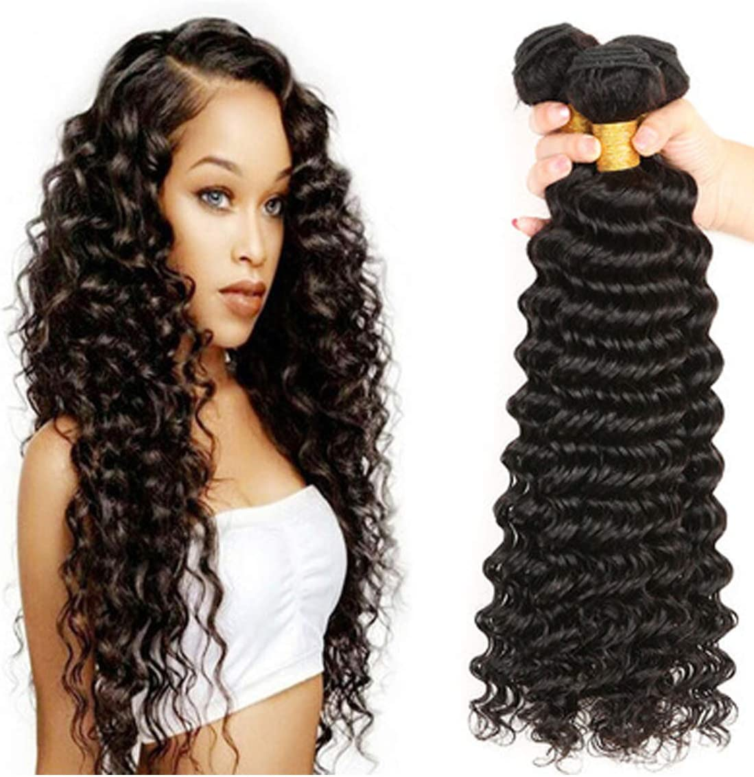 Amazon Com Tong Deep Wave Wig Brazilian Long Weaving Hair Natural Color Human Hair Extensions Remy Hair Weave Synthetic Shoulder Length Wig Middle For Cosplay And Daily Party Use Black 12inch Home Kitchen