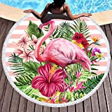 Bonsai Tree Flamingo Round Beach Towel, Microfiber Round Beach Blanket Sand Proof Oversized with Fringe Tassels, Hawaii Tropical Leaves Floral Yoga Mat 59'