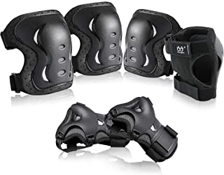 boruizhen Kids & Adult/Youth Knee and Elbow Pads with Wrist Guards 3 in 1 Protective Gear Set for Skateboarding Cycling BM...