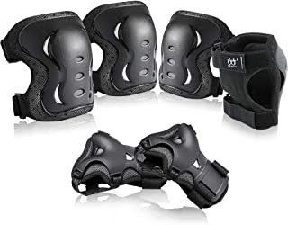 boruizhen Kids & Adult/Youth Knee and Elbow Pads with Wrist Guards 3 in 1 Protective Gear Set for Skateboarding Cycling BMX Bike Scooter Skating Rollerblading Riding