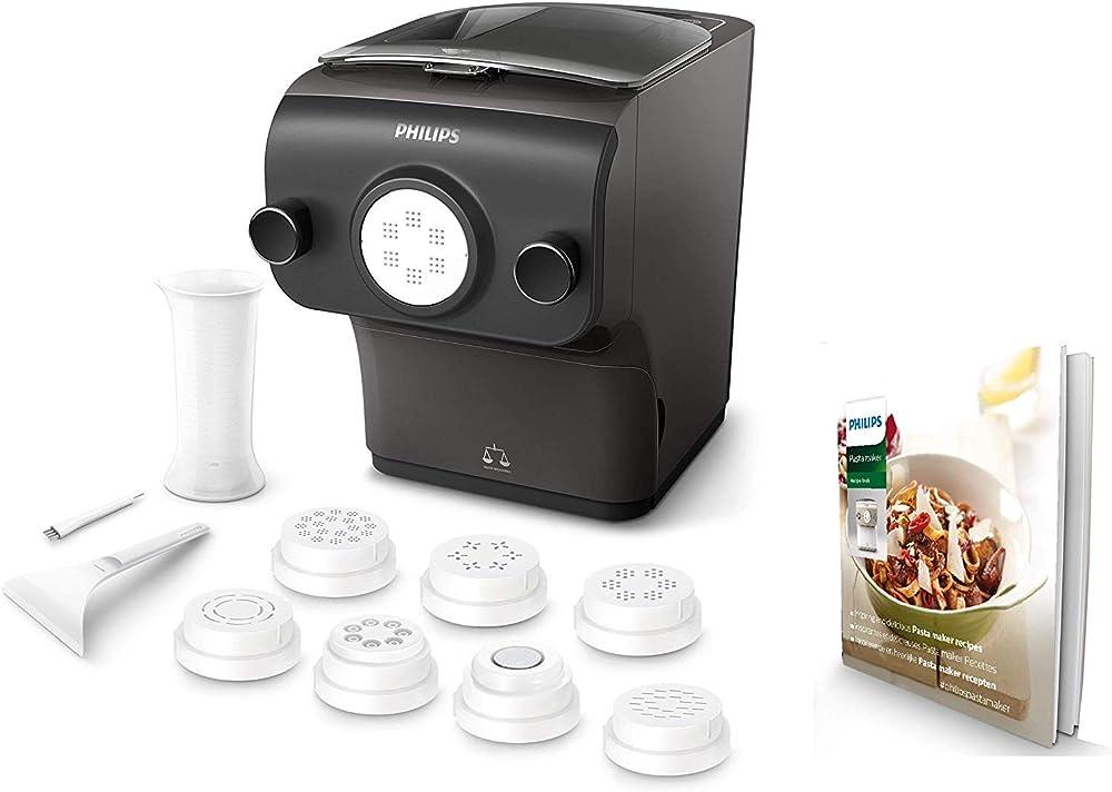 Philips macchina per preparare pasta fresca con bilancia integrata, programmi automatici, 8 trafile per pasta HR2382/15