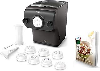 Philips HR2382/15 - Máquina para Hacer Pasta Fresca en Menos de 10 Min, Tecnología de Peso Automático, Capacidad para 600 g, 8 Variedades de Pasta, Color Negro