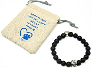 VILIGHT Pet Memorial Bracelet - Natural Stone Dog Cat Sympathy Gifts with Loss of Pet Card and Paw Print Package