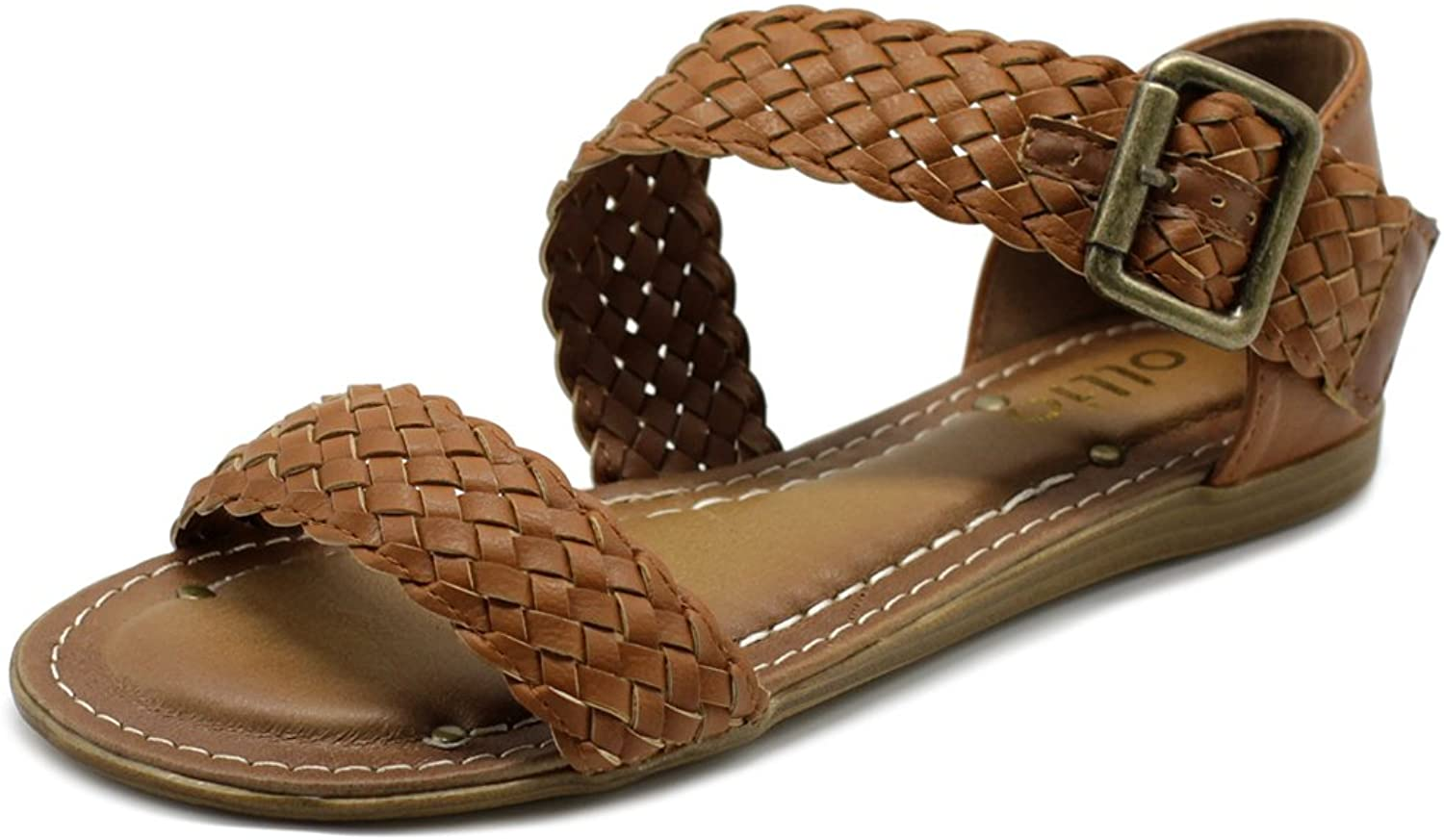 Ollio Womens shoes Braided Side Buckle Accent Multi color Flat Sandal M1966 (7.5 B(M) US, Brown)