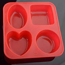 Bulfyss Silicone Circle, Square, Oval and Heart Shape Soap Cake Making Mould, Multicolor