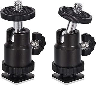 "Rubik 2 Pack Aluminum Alloy 360 Degree Rotating Swivel Mini Ball Head with 1/4"" Hot Shoe Mount Adapter for DSLR Camera Lik..."