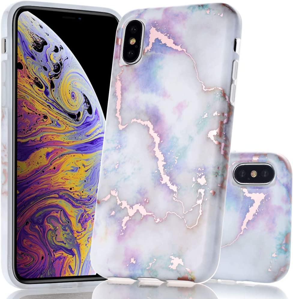 BAISRKE Shiny Rose Gold Marble Design Clear Bumper Matte TPU Soft Rubber Silicone Cover Phone Case Compatible with iPhone X iPhone Xs 5.8 inch - Colourful
