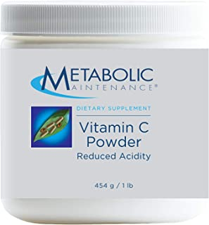 Metabolic Maintenance Vitamin C Powder Reduced Acidity - Reduced pH (4.7) Antioxidant + Immune Support Supplement - Easy D...