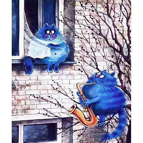 5D DIY Diamant Gemälde voller Bohrer, Liebhaber Blue Cat Diamond Painting Kits, Kristall Strass Stickerei Kreuzstich Arts Craft Leinwand Wand Decor Aufkleber Home Decor 45x60cm F4529