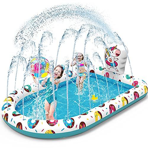 VATOS Pataugeoire Gonflable avec Arrosage - Tapis De Pulvérisation D'éclaboussure 67' x 45' Piscine Gonflable D'arrosage Tapis de Jardin D'été de Extérieur Party pour Enfant 3 4 5+ Garçons Filles