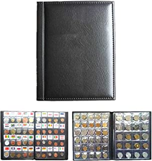 Yosooo 10 Pages Coin Album Coin Collectors 250 Pockets for Coin Storage Coin Collection Book Russian Language (Black)