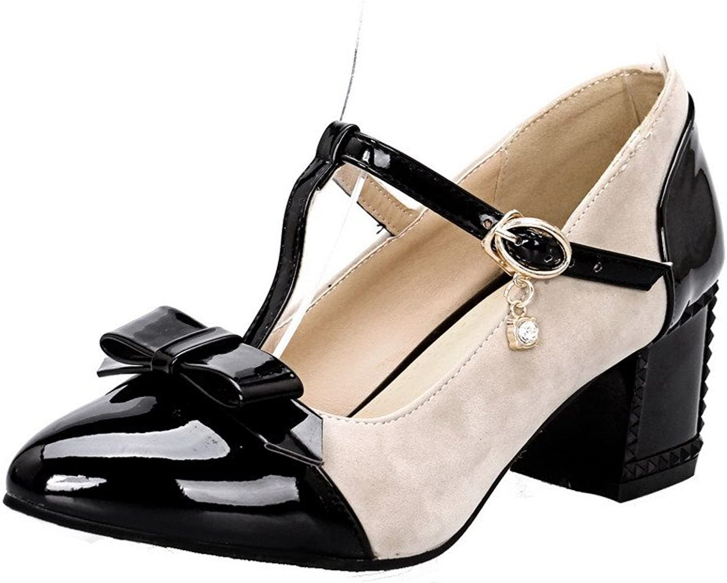 WeiPoot Women's Assorted color Soft Material Low-Heels Buckle Pointed Closed Toe Pumps-shoes