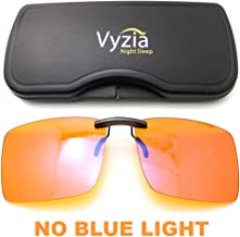 Clip On Blue Light Blocking Glasses for Sleep | Fits Over Prescription Glasses, Orange Lenses Reduce Eye Strain and Induce Sleep
