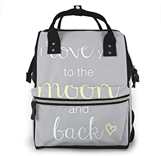 Quote I Love You to The Moon and Back Diaper Bag Backpack for Mom - Multi-Functional Nappy Bag - Waterproof Durable Oxford Fabric - Large Travel Baby Bags