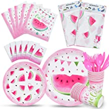 WERNNSAI Watermelon Party Tableware Set - Pool Summer Fruit Party Supplies for Girls Birthday Baby Shower Includes Disposa...