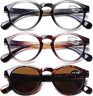 AQWANO 3 Pack Bifocal Computer Reading Glasses Blue Light Blocking UV400 Lightweight Durable Frames Bifocal Sun Readers for Men Women, 2.0