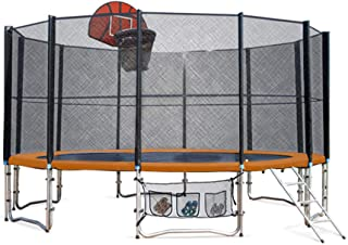 Up-Shot 16ft Round Spring Trampoline with Basketball Set and Kick Deck