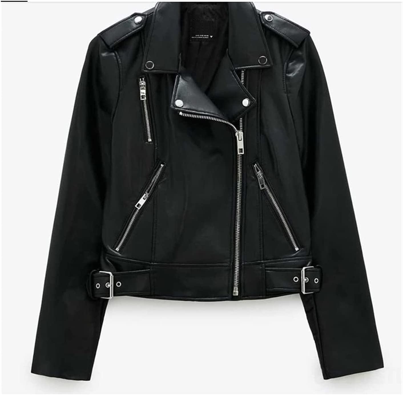 Jacket Women Black Max 60% OFF Faux Leather Mo Turn-Down Coat Zipper Price reduction Jackets