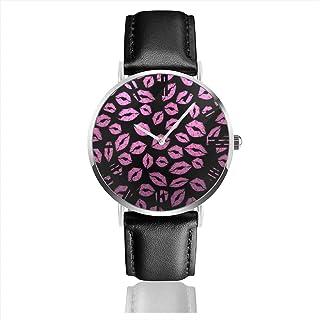 ファッションウォッチ プリント クォーツ ステンレススチール 腕時計 ピンクな唇 リップ セクシー メンズ 40mm カジュアルウォッチ レザーストラップ ファッション 個性