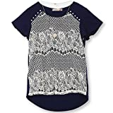 Speechless Big Girls 7-16 Lace Front T-Shirt, Navy Ivory, M