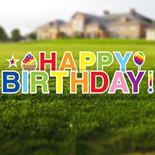 Vispronet Rainbow Happy Birthday Yard Signs with Stakes – Each Letter is 18in Tall – Includes Bonus Star, Cupcake and Ball...