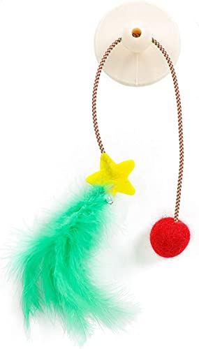 iKiKin Cat Toys Pet Interactive Cat Feather Toy for Kitten Self Rotating Feathers Ball Toys for Cats Cat Kitten Having Fun Exerciser Playing Interactive Suction Cup cat Toy