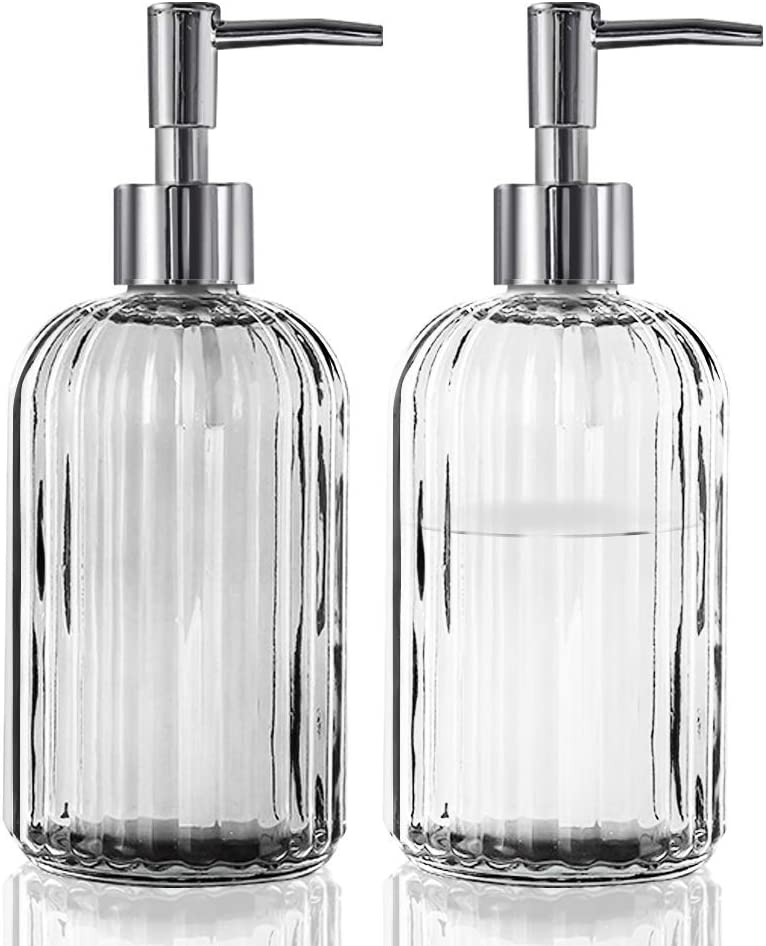 Amazon Com Ahnner 13 5 Oz Glass Soap Dispenser 2 Pack Hand And Dish Soap Dispenser Set With Pump Dish Soap Dispenser For Kitchen And Bathroom Kitchen Dining