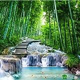 Papel Pintado 3D Murales Bosque de bambú puente de piedra paisaje- Fotomurales Para Salón Natural Landscape Foto Mural Pared, Dormitorio Corredor Oficina Moderno Festival Mural 250X175CM