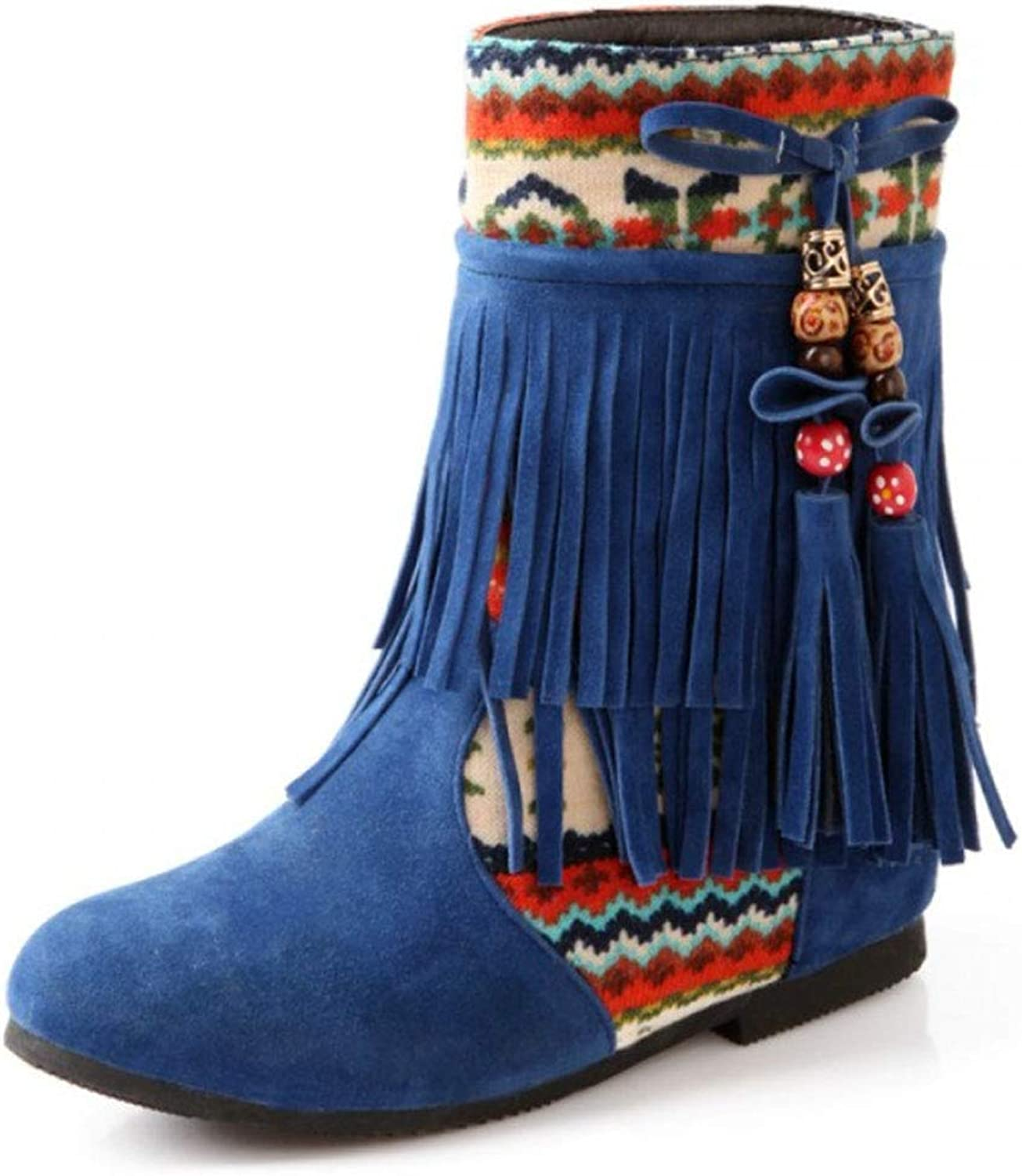 Women's Short Boots Fur Lined Round Head Wedge Ankle Boots with Bohemian Ethnic Style Fringed Boots Autumn and Winter