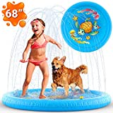 (68') Inflatable Splash Sprinkler Pad for Kids Toddlers, Kiddie Baby Pool, Outdoor Water Mat Toys - Baby Infant Wadin Swimming Pool - Fun Backyard Fountain Play Mat for 1 -12 Year Old Girls Boys