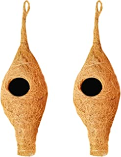LIVEONCE Bird Nest for Sparrow Wild nest Purely Handmade with Strong-Natural Color Set of 2
