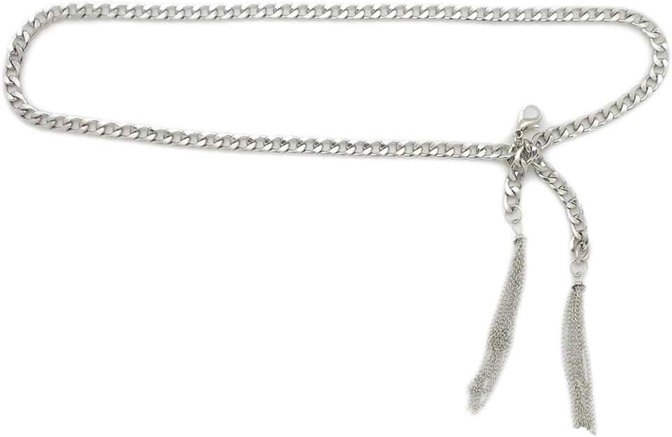 TFJ Women Fashion Metal Chains Belt Hip High Waist Wrap Around Fringes Size M L Silver