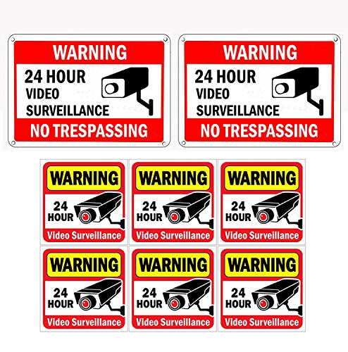 WISLIFE Video Surveillance Sign Set, 2 (10' X 7') Aluminum Warning Signs & 6 (6'X6') Window Stickers, Video Security Signs