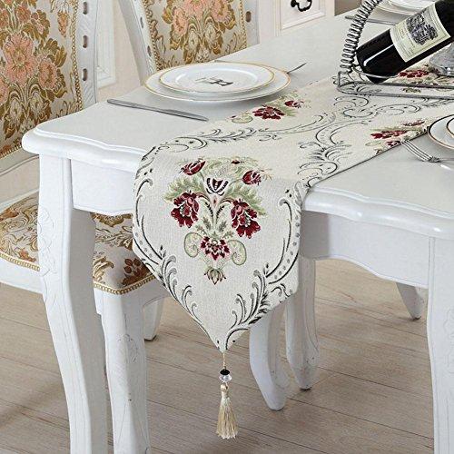 LXZ Chemins De Table, Vintage Chemin De Table À Toile Flanelle Lin Jacquard De Jute Et Burlap De Table Décoration Pour Maison Mariage , 2