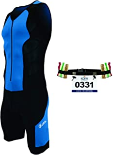 Kona II Men's Triathlon Suit - Sleeveless Speedsuit Skinsuit Trisuit with Storage Pocket and Bonus Race Bib Belt