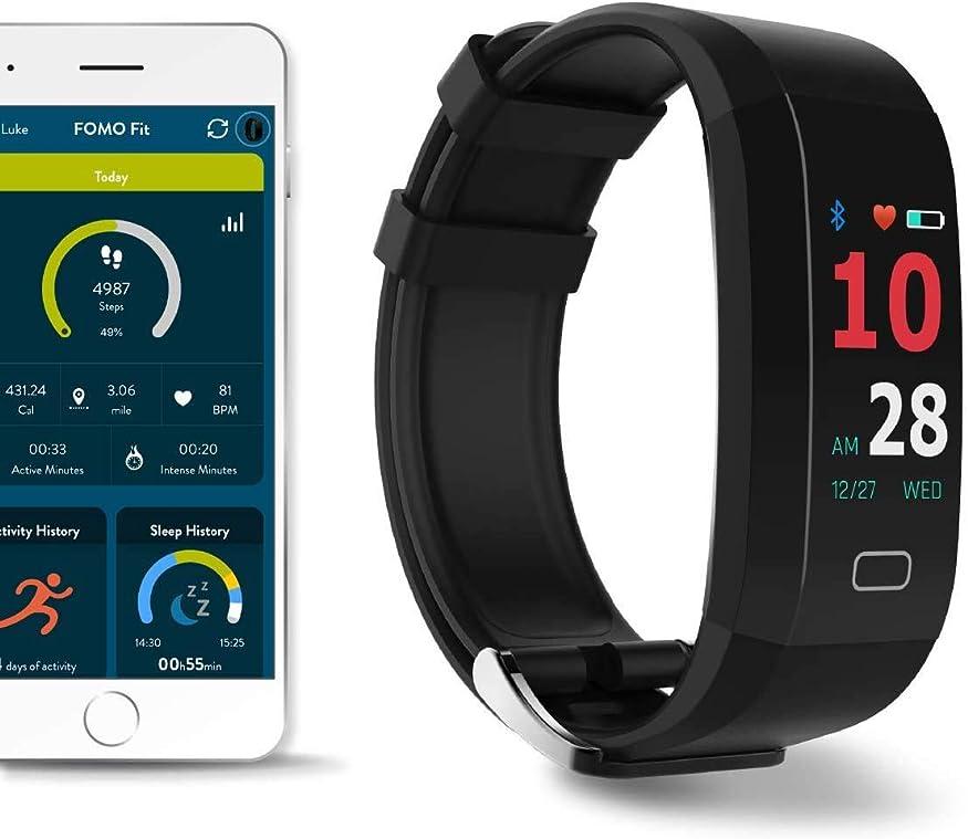ヤギラベル舞い上がるFOMO Fit GPSフィットネスウォッチ、カリフォルニアでデザイン。 内蔵GPSとマルチタッチカラースクリーン。 心拍数、HRV、血圧フィットネス、睡眠を自動的に追跡します。 美しいモバイルアプリ。