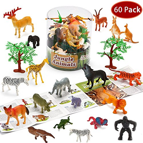 JOYIN 60Piece Safari Jungle Animal Figures Toddler Toy Set Realistic Wild Plastic Animal Playset - Animal Encyclopedia Included (2.5 to 5